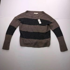 LOFT Medium Brown Gray Stripe Long Sleeve Sweater